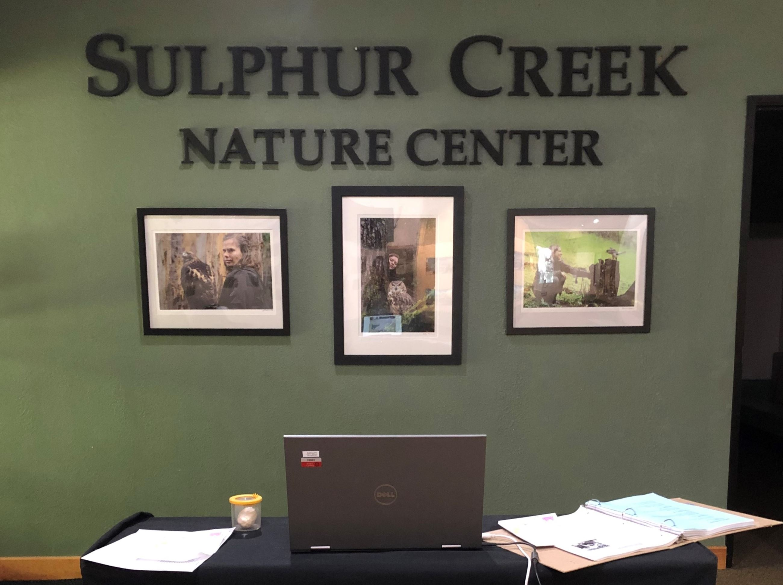 Laptop set up inside Sulphur Creek's museum for virtual presentations