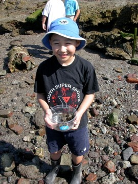 boy holding bin of crabs